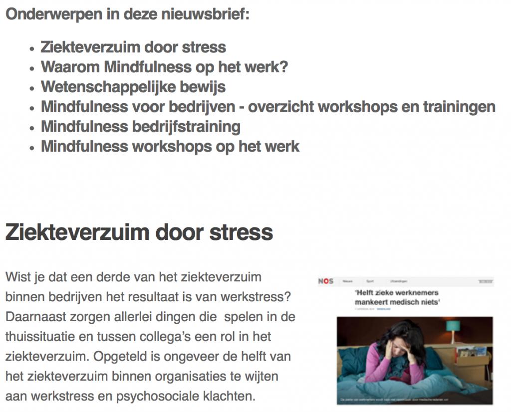 nieuwsbrief mindfulness werk